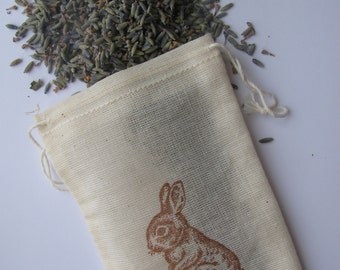 25 LAVENDER FILLED 'Baby Bunny' stamped muslin drawstring bags