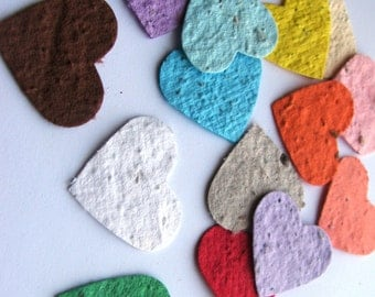 250 Plantable confetti hearts- choose from 16 colors - homemade paper mixed with wildflower seeds- ecofriendly- earth day