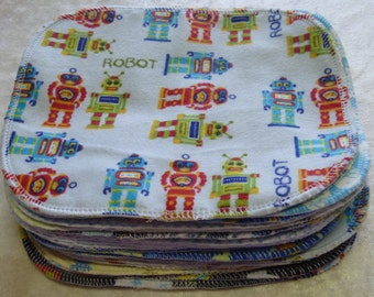 30 Boys Mixed Print, Reusable Cloth Baby Wipes, Cloth Napkins