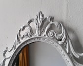 White Princess Mirror, Ornate Vintage Oval Framed Mirror, 10 by 7 Inch Frame, Shabby Chic Vintage Home Decor