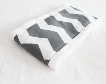Grey and White Chevron Baby Burp Cloth