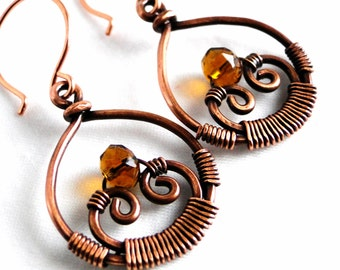 Teardrop Earrings, Handcrafted Jewelry, Spiral Jewelry, Faceted Brown Glass Beads, Antiqued Copper Earrings