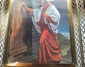 Vintage 50s 60s , mid century, religious, Lighted Picture Jesus Knocking on Door , Metal Frame , working lamp light, 3D