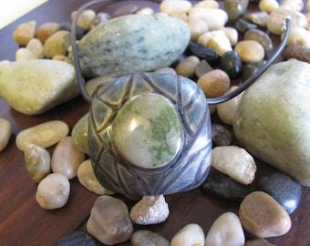 Pixie Green Turquoise Necklace, turquoise pendant, organic necklace, large pendant, statement necklace