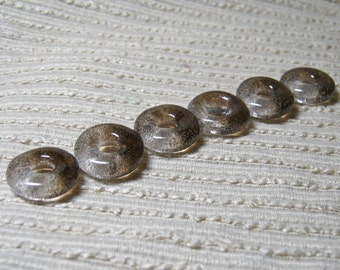 JEWELRY MAKING SUPPLIES / Cast Glass Beads / Set of 6 / Translucent  Coffee Brown Blend / For Your Handcrafted Jewelry Designs or Crafts