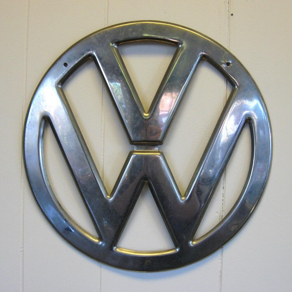vintage vw bus chrome hood emblem 12 5 inch diameter pre. Black Bedroom Furniture Sets. Home Design Ideas