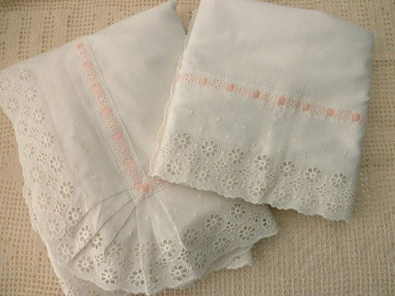 Two White Cotton Eyelet Pillow SHAMS shabby chic by JunqueDuJour