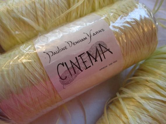 SALE - rare vintage yarn - Pauline Denham CINEMA - 4 spools - light yellow - 100% rayon - htf, rare