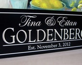 Personalized Name Sign.....Carved 8 x 24 Personalized Family Name Sign Wedding Gift