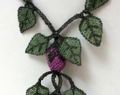 green posion ivy necklace with purple flowers-ready to ship