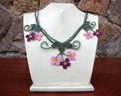 Pink Wild Flowers Necklace,pink Crochet necklace,Plum Crochet Necklace,Floral Necklace,dust pink rose necklace,statement necklace,pink bib