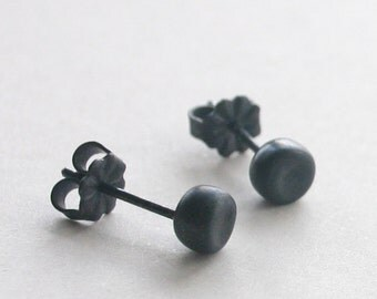 Stud earrings - Black Pebble Post Earrings ( medium 5mm ) - small organic handmade sterling silver post earrings