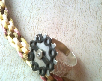 Gears on Wire Wrapped Ring
