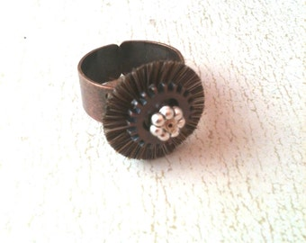 Mini Brush and Gear Steampunk Ring