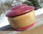 Medium Spalted Paper Birch Wood Rounded Box with Raspberry Stained Lid and Base