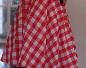 Circle Skirt - Gingham Circle Skirt - Picnic Skirt - Red Gingham Retro - -Country Christmas - Gingham Skirt Buffalo