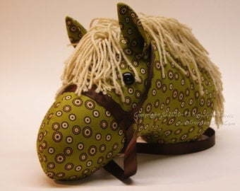Stick Horse, Olive Green & Spots with Brown Bridle, MADE to ORDER, With or Without Stick