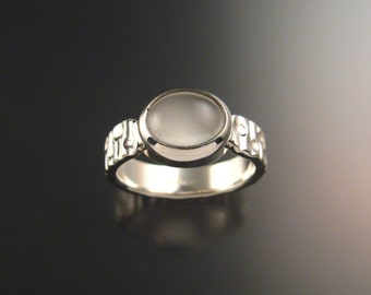 Moonstone ring Sterling Silver heavy stamped pattern ring made to order in your size