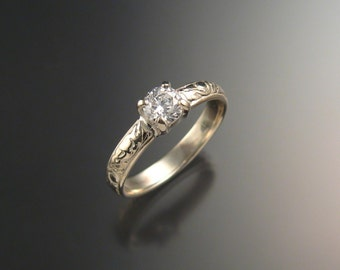 White Sapphire Wedding ring 14k White Gold Diamond substitute ring made to order in your size