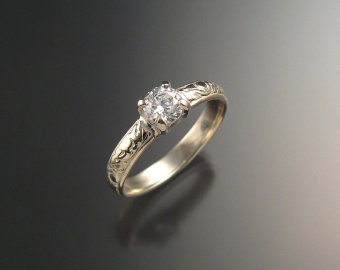 White Sapphire Natural stone Wedding ring 14k White Gold Diamond substitute ring made to order in your size