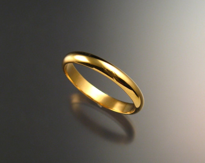 14k Yellow gold Wedding band 3 mm Smooth Half round ring Handmade in your Size