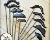 Plastic Mustaches on STEEL RODS - The Evening Soiree - Set of 10