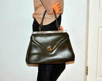 1960s Adorable MOD  Brown Leather Hand Bag Purse