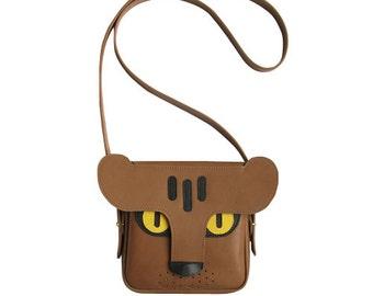Leather Panther bag, brown leather bag, Handmade, animal bag, tiger, leopard / shoulder bag / leather bag / women's bag / hand bag / purse