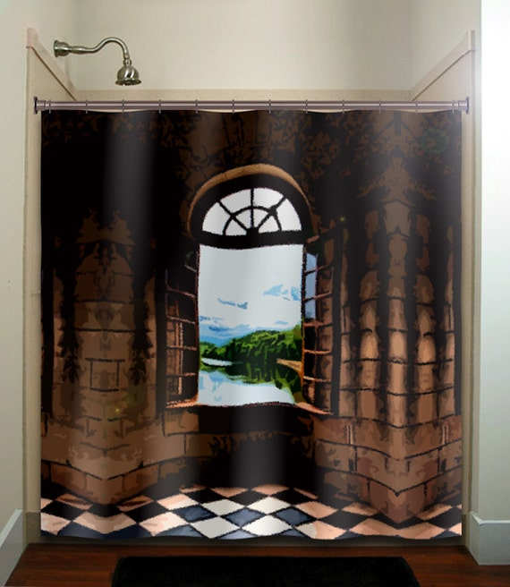 Castle window shower curtain bathroom decor fabric kids bath Bathroom decor ideas with shower curtain