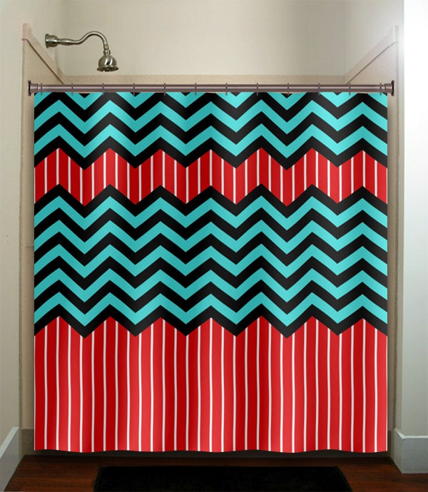 Red stripe aqua blue chevron bath mat rug bathroom decor for Blue and white striped bathroom accessories