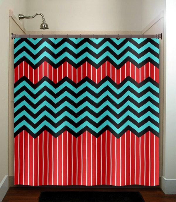 Red Stripe Aqua Blue Chevron Bath Mat Rug Bathroom Decor