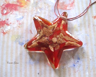 Red Star Lampwork Glass Pendant 45mm,1 pc