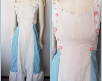 Vtg.60s White Aqua Blue Pink Daisy Applique Eyelet Lace Cotton Damask Maxi Sun Dress.S.Bust 32.Waist 26.