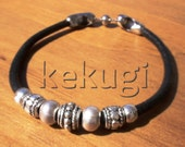 women black leather bracelet with silver beads