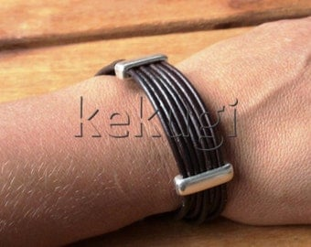 multi strap brown leather bracelet with sterling silver plated spacers beads