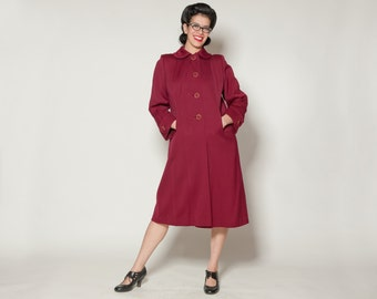 Vintage 1940s Marsala Gabardine Coat - Burgundy Wool - Winter Fashions