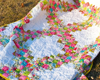 Modern Lap Quilt - Handmade, Patchwork - Floral, Flowers, Dots, Stripes - Irish Triple Chain - Traditional