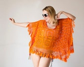 Orange beach crochet fringed poncho upcycled from vintage tablecloth boho Hippie - katrinshine