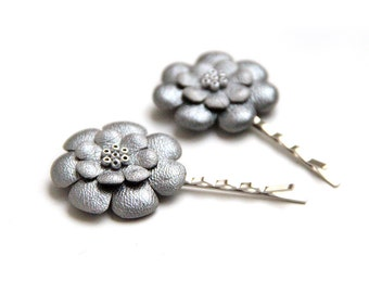ALL funds are going to cat shelter - Grey metallic leather flowers bobby pins - set of 2