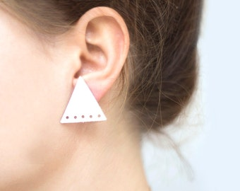 White Triangle Earrings studs, Leather Geometric Earrings, stud earrings, boho tribal earrings, minimalism, gift for her