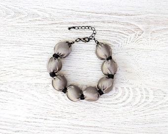 Grey Fabric bead Bracelet