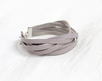 Sliced grey leather wrap bracelet