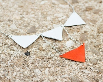 White and orange leather geometric triangles necklace