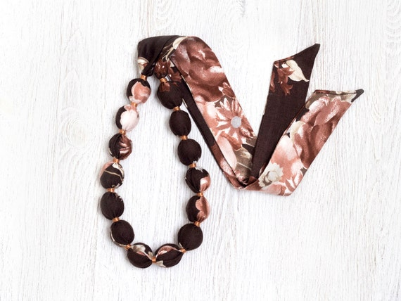 Brown and ivory Fabric bead necklace SALE