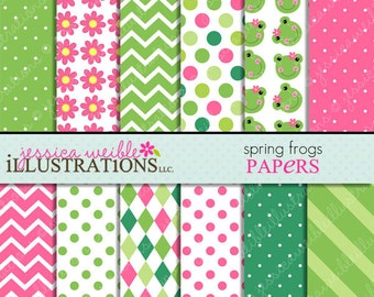 Spring Frogs Cute Digital Papers Backgrounds for Invitations, Card Design, Scrapbooking, and Web Design