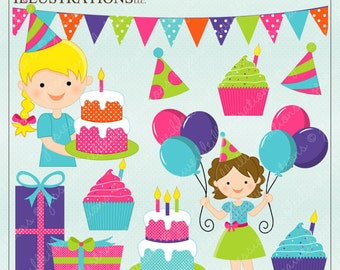 Birthday Girl Cute Digital Clipart for Card Design, Scrapbooking, and Web Design