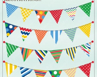Party Bunting V2 Cute Digital Clipart for Invitations, Card Design, Scrapbooking, and Web Design, Garland Bunting Clipart