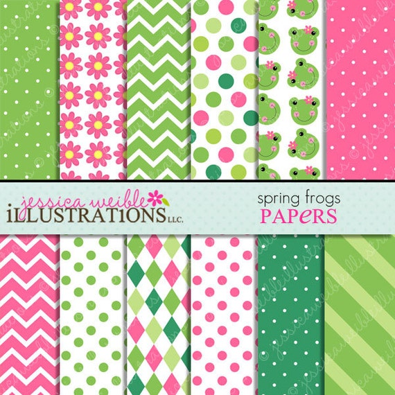 Spring frogs cute digital papers backgrounds for invitations for Cute designs for paper