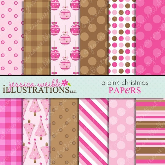 A Pink Christmas Cute Digital Backgrounds for Card Design, Scrapbooking, and Web Design