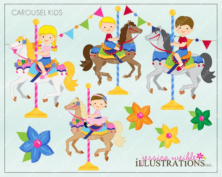 Clip Art Carousel Clipart carousel clip art etsy kids cute digital clipart for invitations card design scrapbooking and web clipart